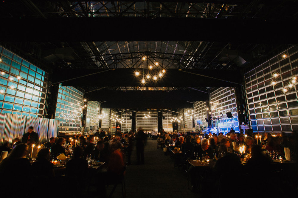 Dark Intimate Wedding Reception at Brewmaster's Gate in Ohio