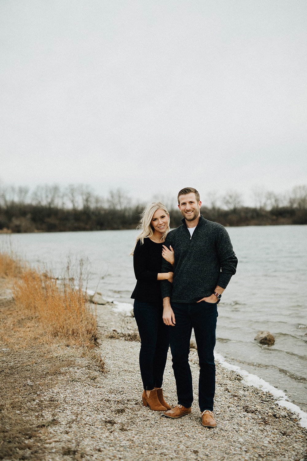 Natural Light Lakeside Engagement Photos with Warm Sunlight