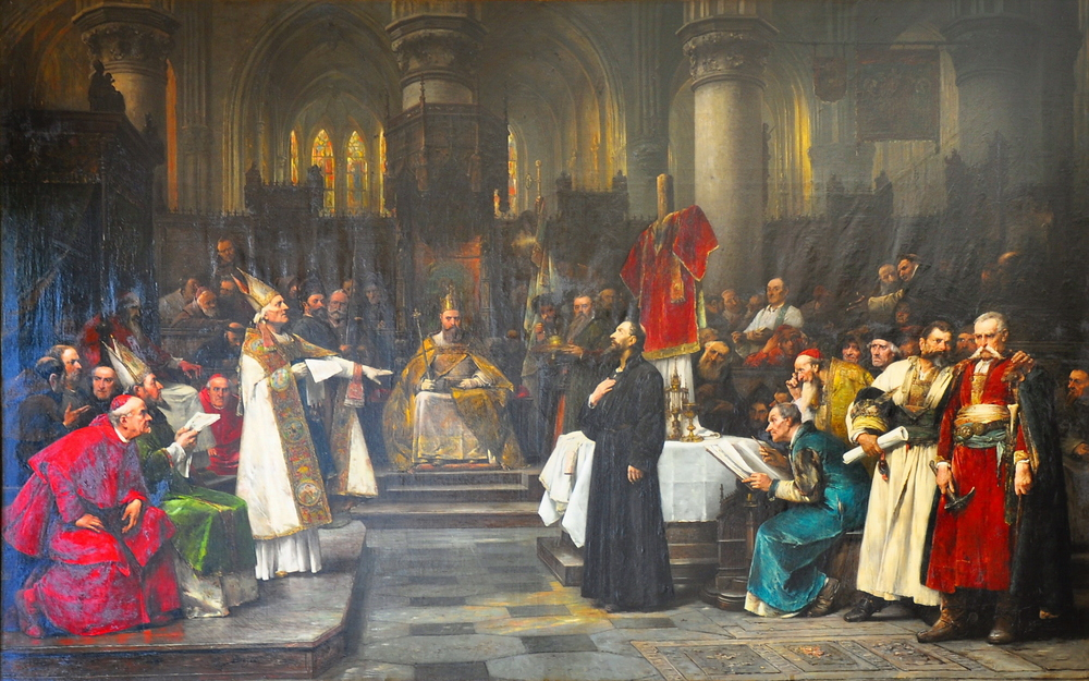 """Jan Hus before the Council of Constance,""   Václav Brožík (1883)."