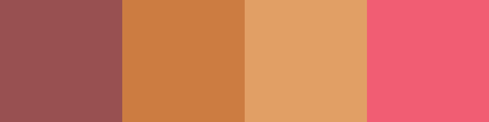 Left to right: marsala, golden ochre, gold earth, calypso coral