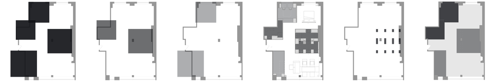 parti,              primary functions,        secondary functions,       resulting floorplan,   highlighting structure,      floor heights