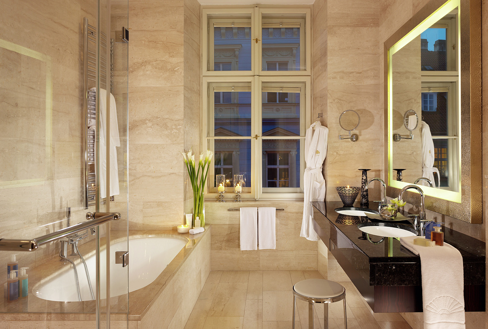 A deluxe suite bath at the  Mandarin Oriental, Prague