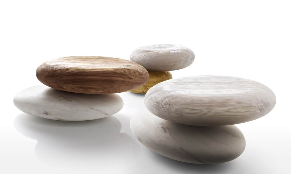 Wood and stone seating from Kreoo
