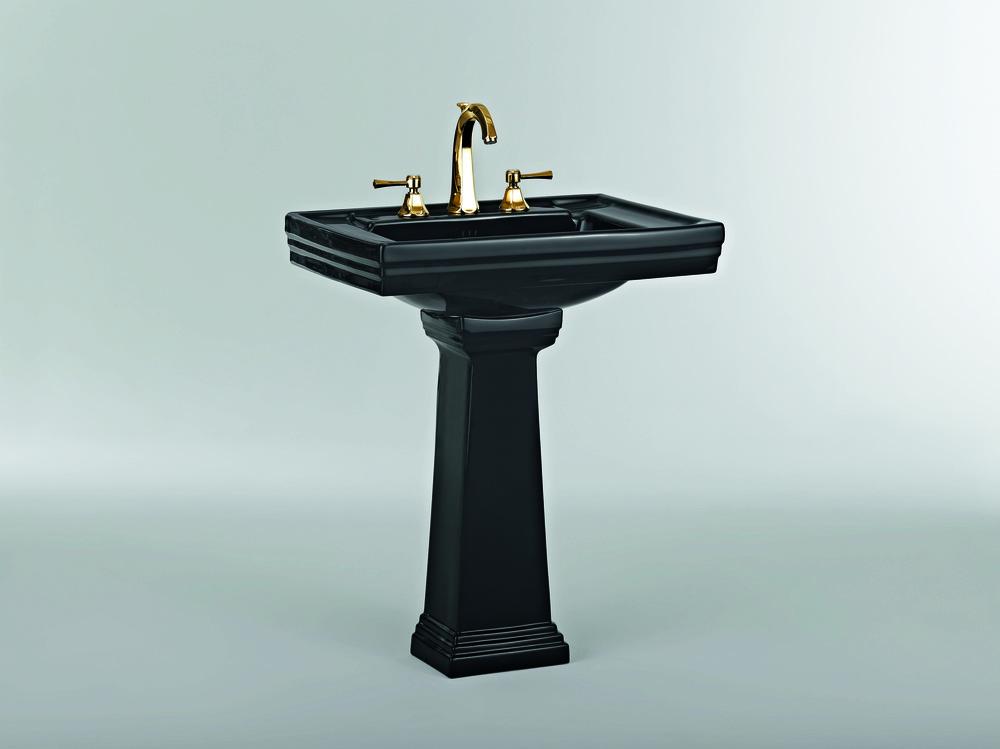 ASCOTT Ceramique noir lavabo 68205+colonne 68208 + robinet 65261 doré.JPG