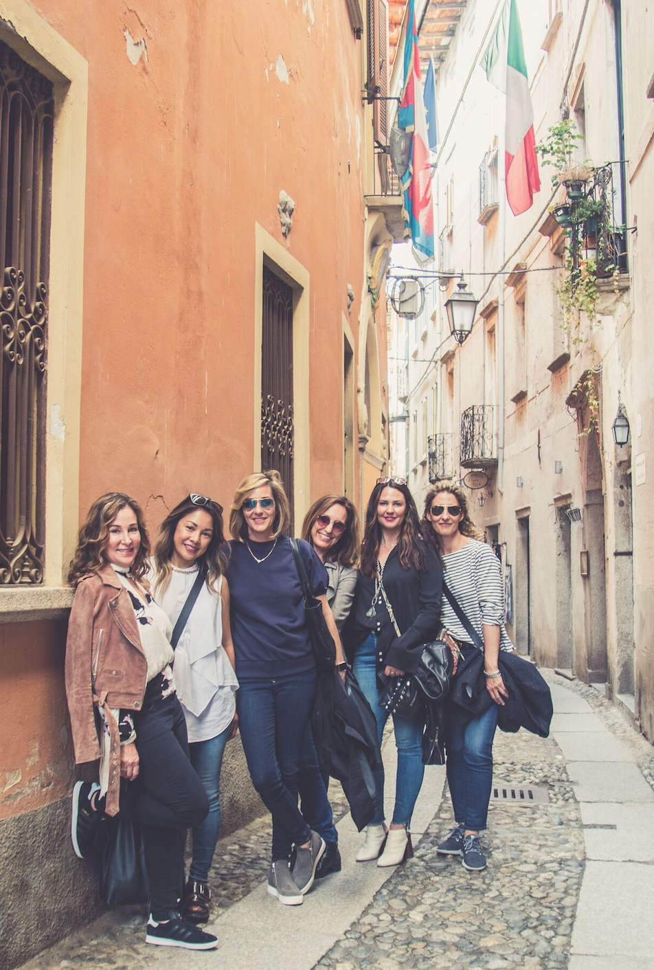 Visting the town of Orta in the Lake District. Left to right: Lori Gentile, Edel Legaspi, Ginna Christensen, MaryAnn Schicketanz, Kelly Hinchman and Dana Joy Altman