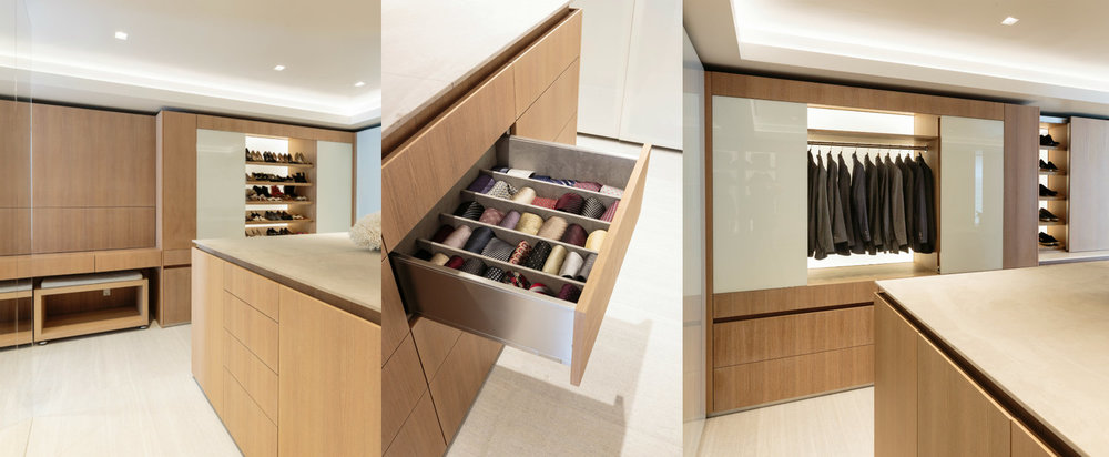 Above: A peek inside the new closet, part of the master bedroom and bathroom, that Laurie designed for Malibu clients.