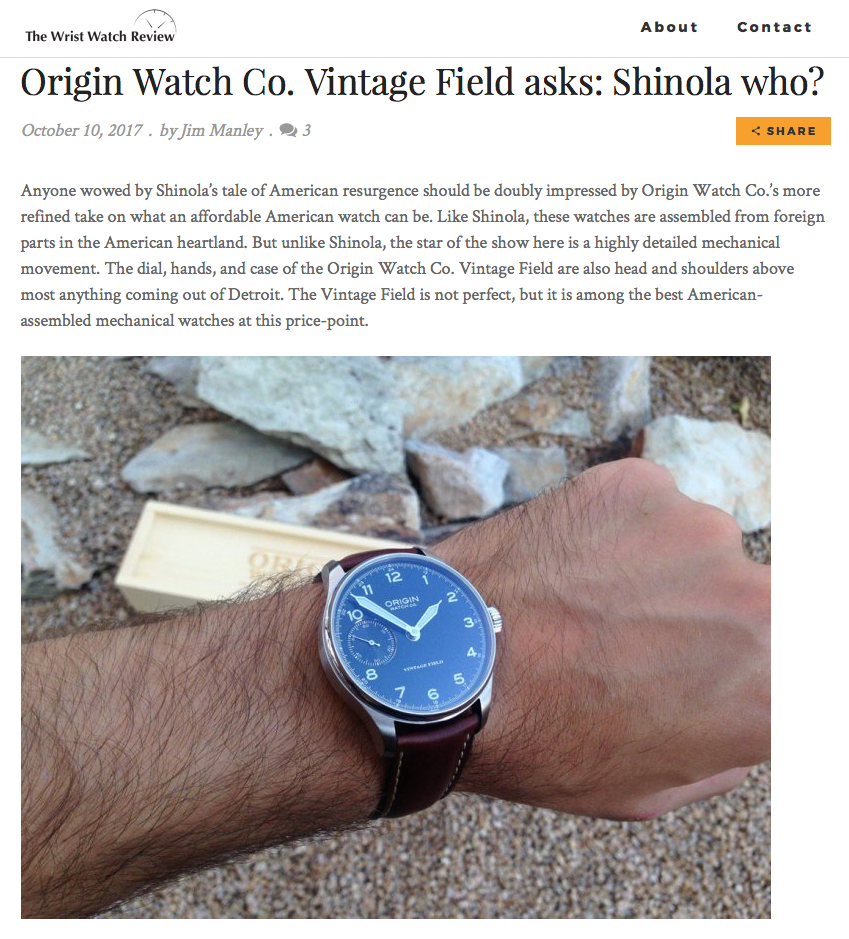 We are pleased to share a review of our new edition Vintage Field Watch by The Wrist Watch Review