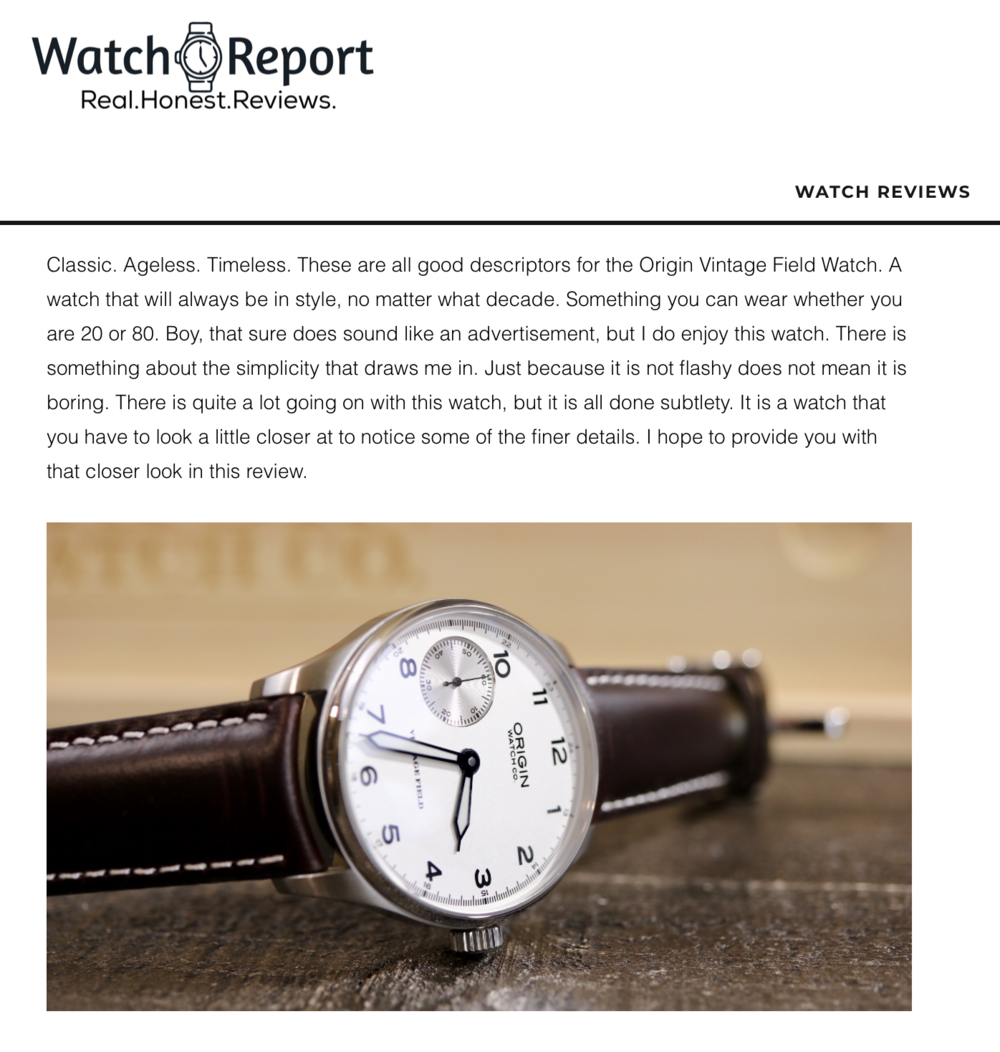 We appreciate an honest review by Watch Report
