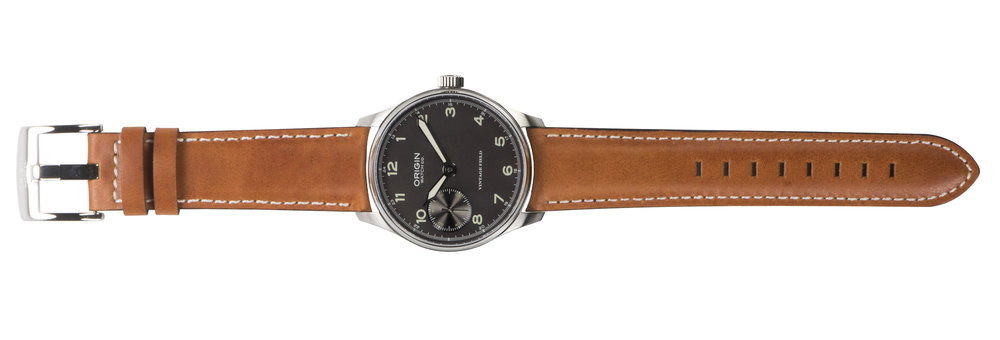 Tan leather strap with contrast stitching throughout