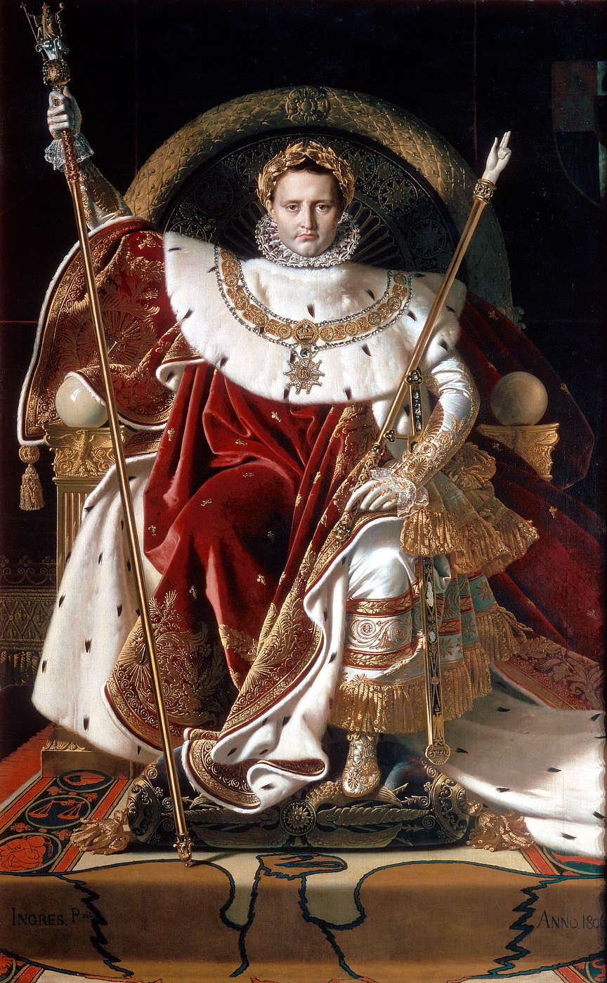 Religion regards life as an opportunity to express the equivalent of spiritual fealty to god. This is implausible, for the desire to be worshipped and obeyed is far more easily imagined existing in (some) human beings than in any truly divine being. Above: Napoleon at his coronation (Jean Auguste Dominique Ingres, 1804).