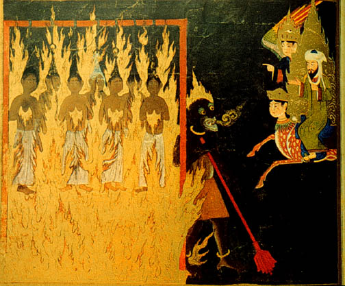 Who was Abu Lahab in fact? He was Muhammad's uncle. His crime, apparently, was failing to believe that Muhammad was a prophet. In the 15th century Persian depiction above, women hang by their hair and burn for failing to cover their hair in life. Photo: Wikipedia
