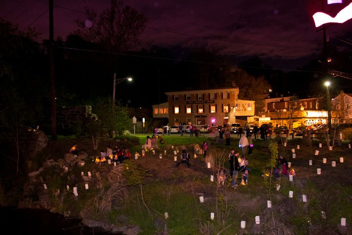 A beautiful display of luminaries put in place by members of the Ellicott City Restoration Foundation greeted the lantern bearers as the Parade crossed the Patapsco River.