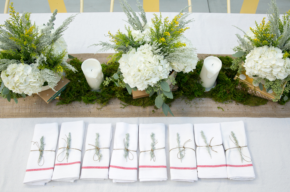 Engagement Tablescape: Hydrangeas, Eucalyptus, Sage, and Moss