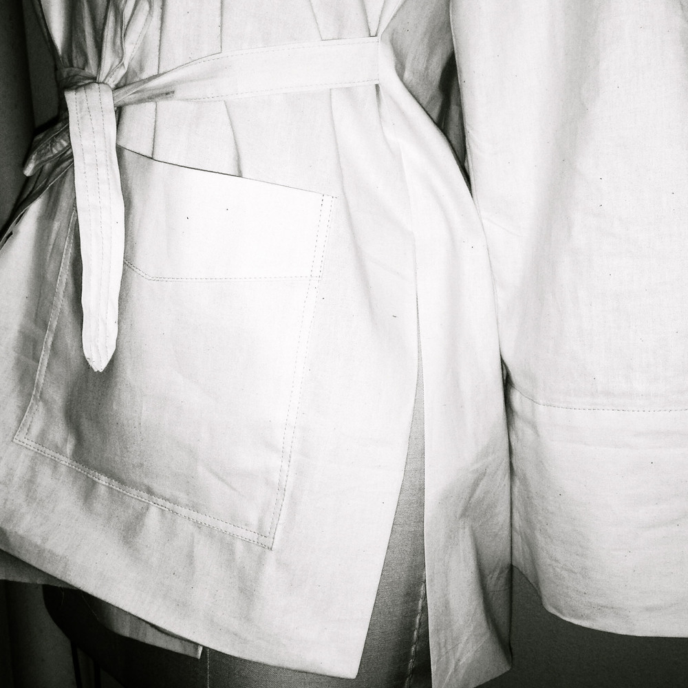 +++In the studio, two muslin samples are made before the final cut. The first sample is to see the fit, length, and overall silhouette. The second sample is to perfect the garment with finishing, stitching and minor details.