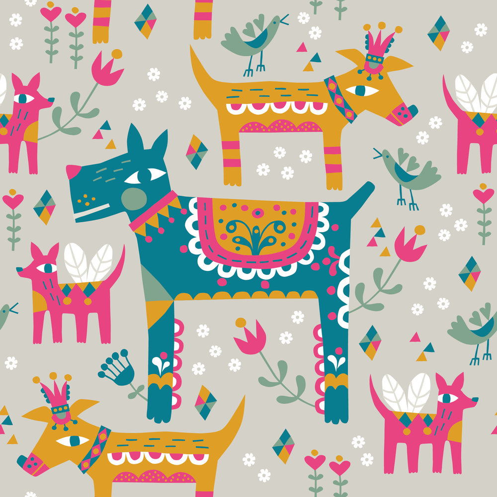 Carnival Dogs Pattern available on Spoonflower