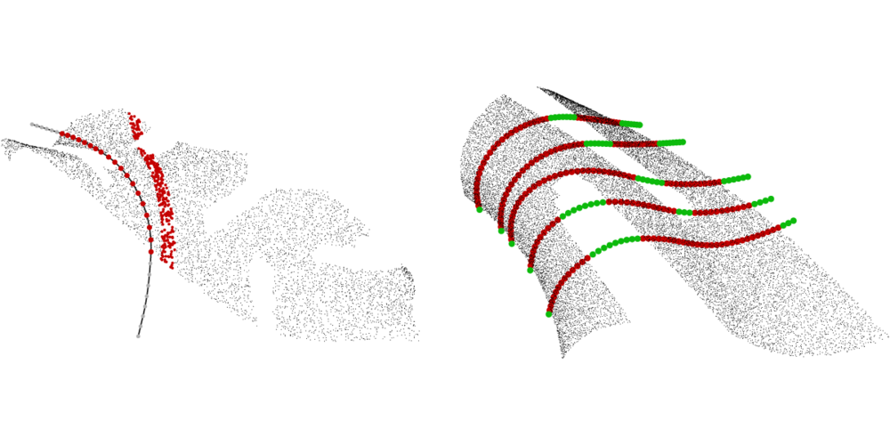 Automatic Fitting of 3D NURBS curve sections for incomplete data