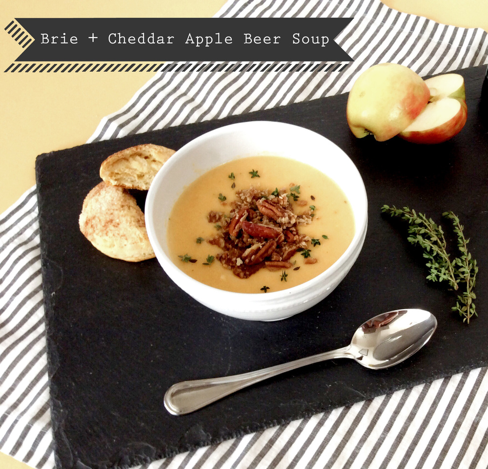 Brie + Cheddar Apple Beer Soup - Title (Sugar and Roses)