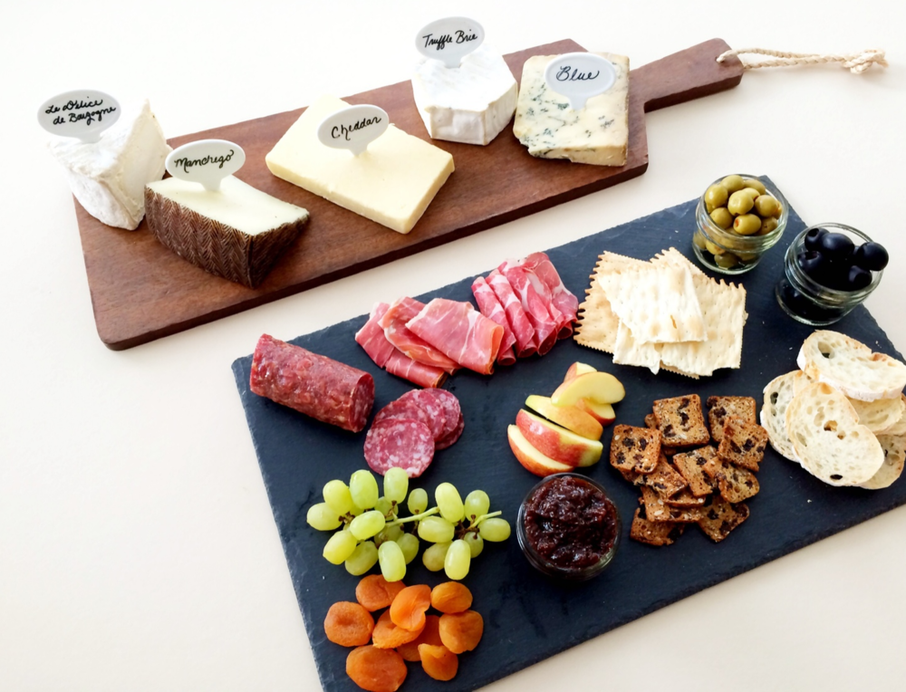 Host a Wine Tasting Party (Sugar & Roses) - Labeled Cheese and Accompaniments