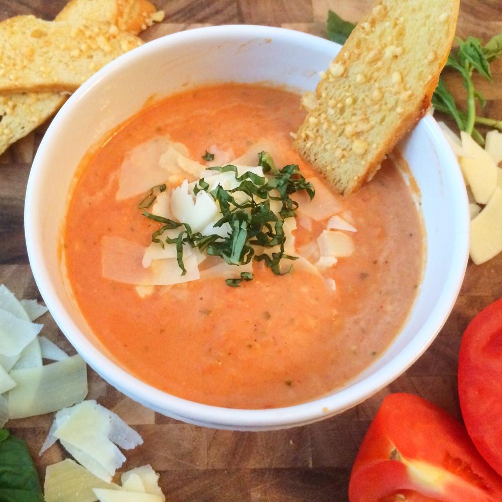 Slow Cooker Tomato Basil Parmesan Soup (Sugar & Roses)