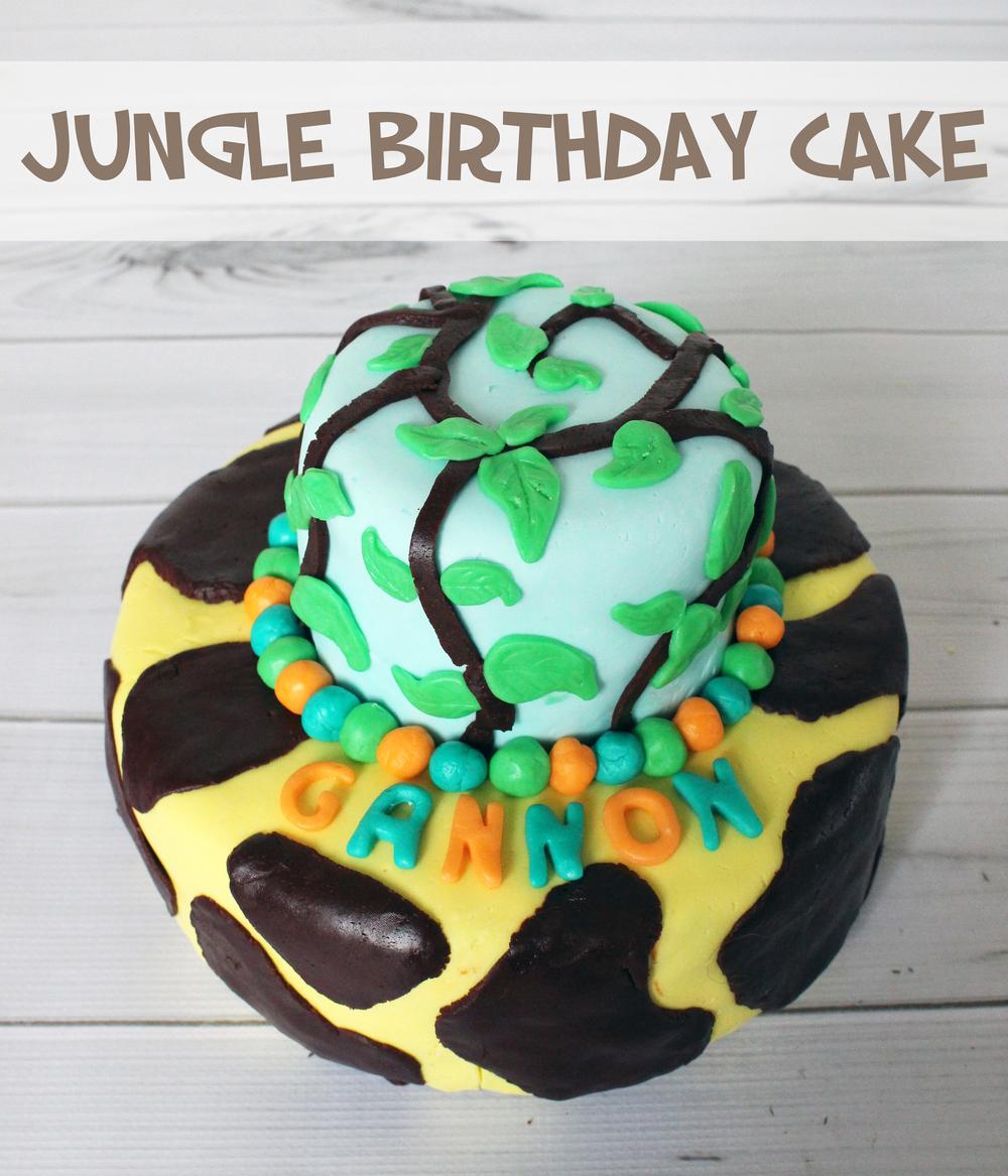 Jungle Birthday Cake made with Fondant (Sugar & Roses)