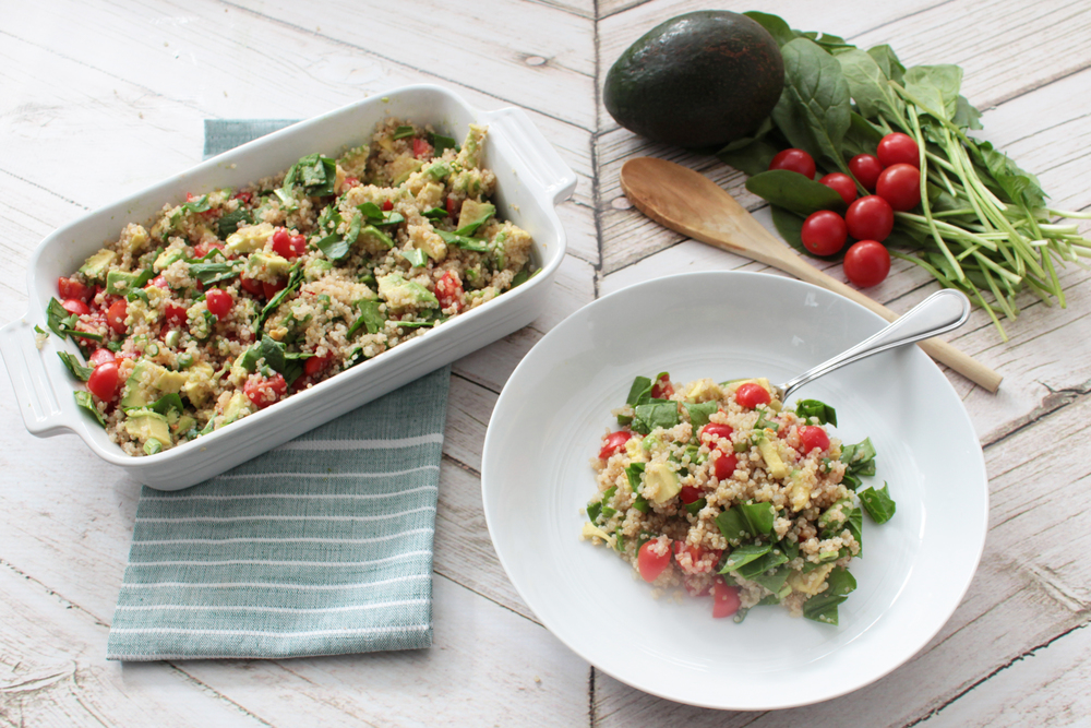 Superfood Quinoa Salad with Avocado and Spinach (Sugar & Roses)