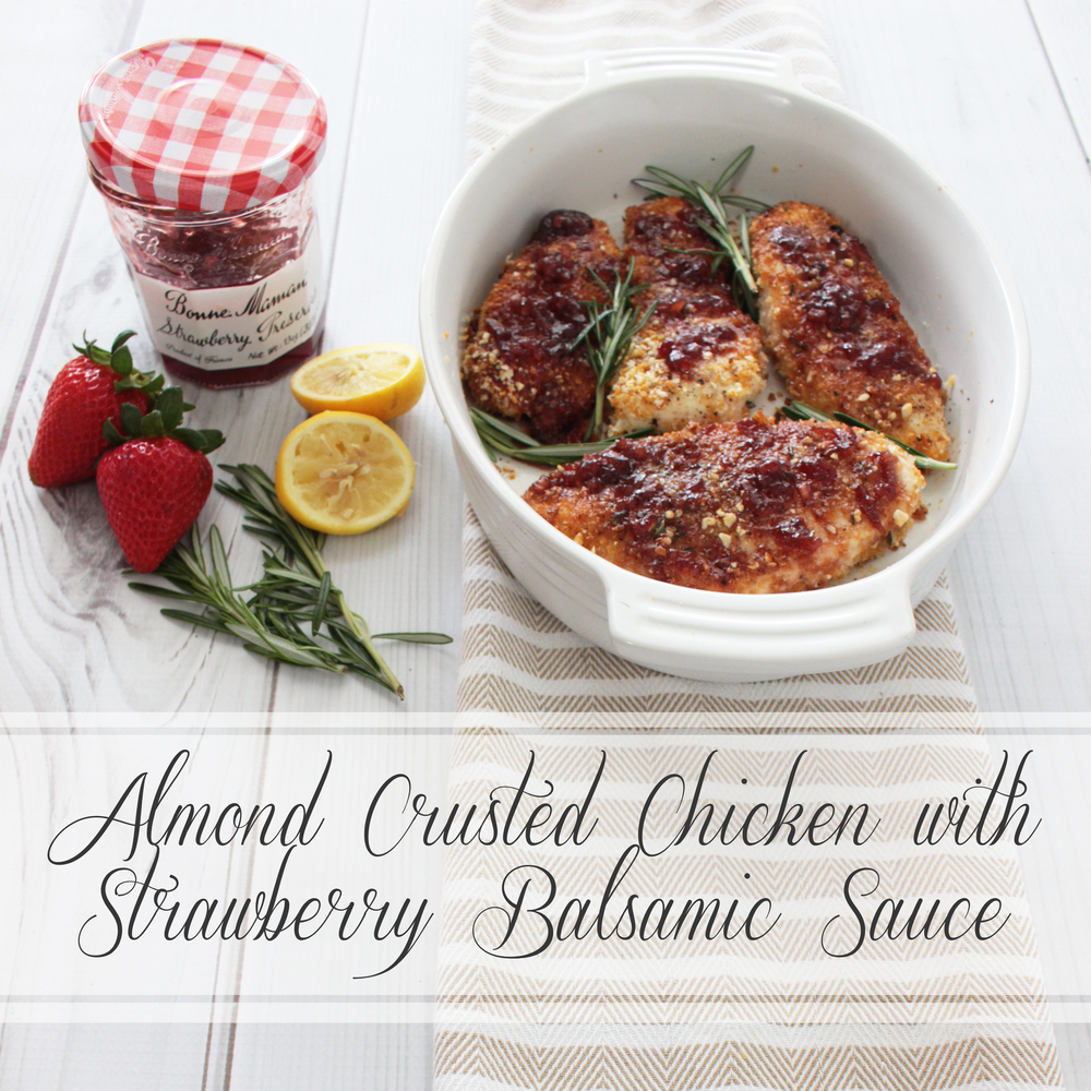 Almond Crusted Chicken with Strawberry Balsamic Sauce (Sugar & Roses)