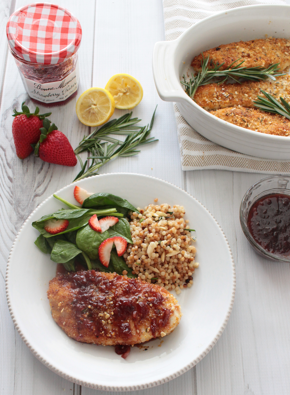 Almond Crusted Chicken with Strawberry Sauce (Sugar & Roses)