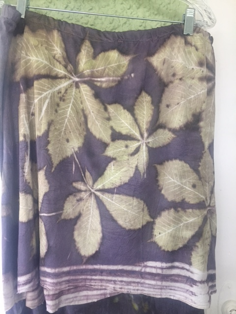 Silk jersey skirt made in workshop in Spain. Printed with chestnut leaves.