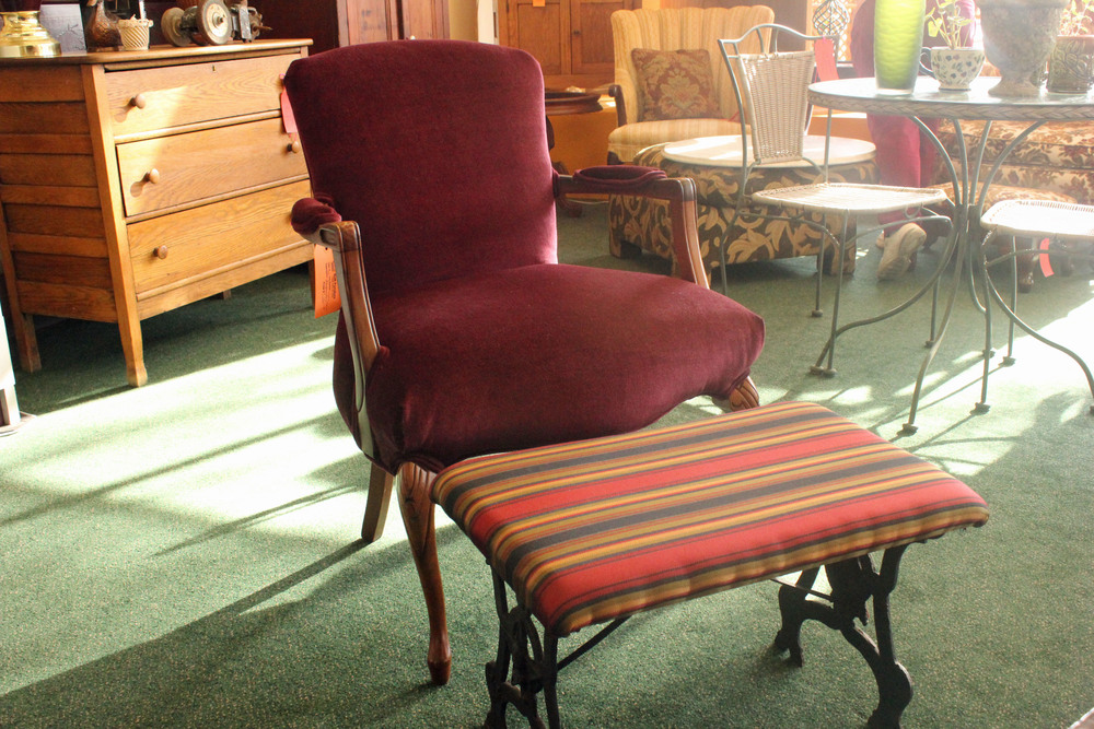Burgundy Armchair with Striped Footstool.jpg