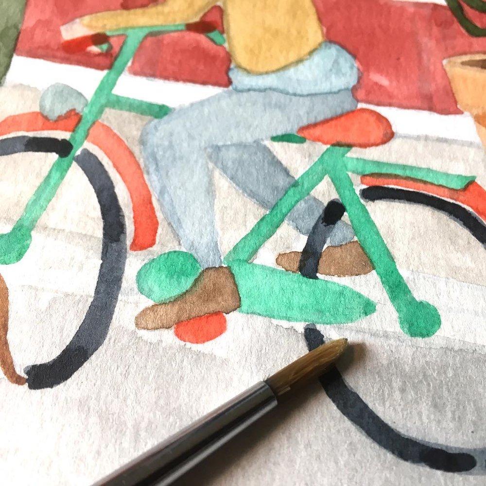 Anne Quadflieg Illustration Watercolour Bicycle WIP.jpg