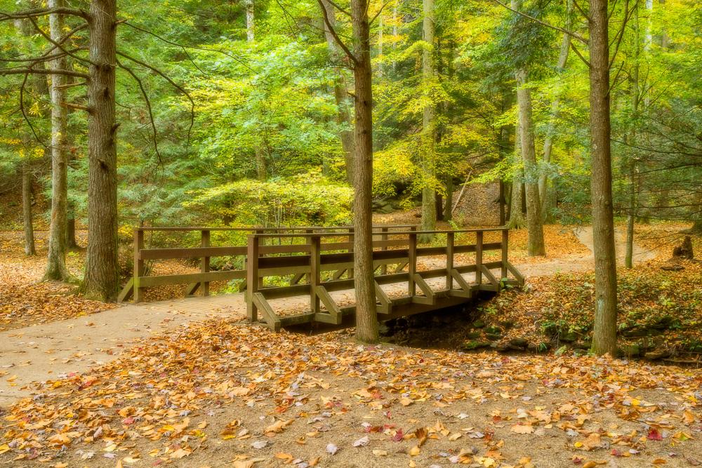Autumn bridge in Hocking Hills State Park, Ohio