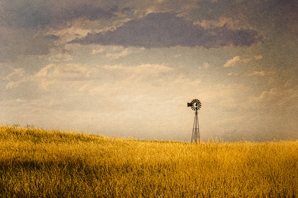 This windmill stands alone in the field in Morrill county, Nebraska.