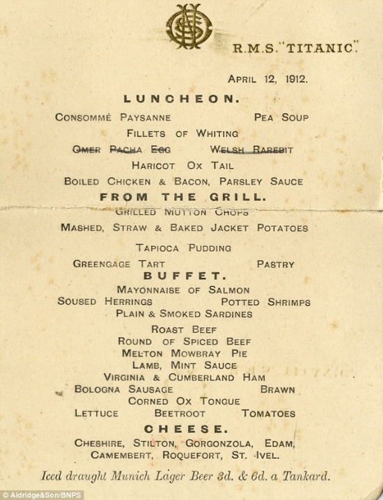 Creepy menu from one of the last days meals aboard the Titanic.