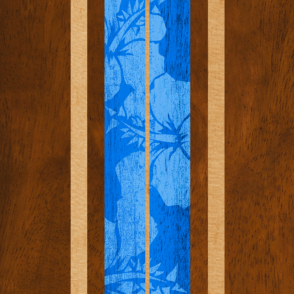 Haleiwa Hawaiian Faux Koa Wood Surfboard - Ocean Blue