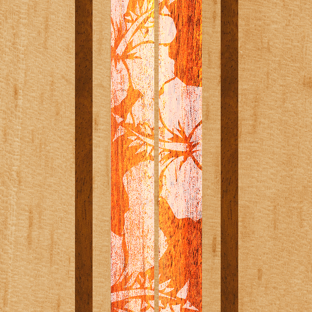 Haleiwa Hawaiian Faux Maple Wood Surfboard - Orange