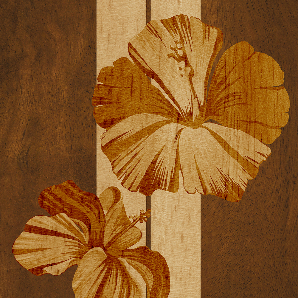 Kualoa Faux Koa Wood Hawaiian Surfboard with Hibiscus