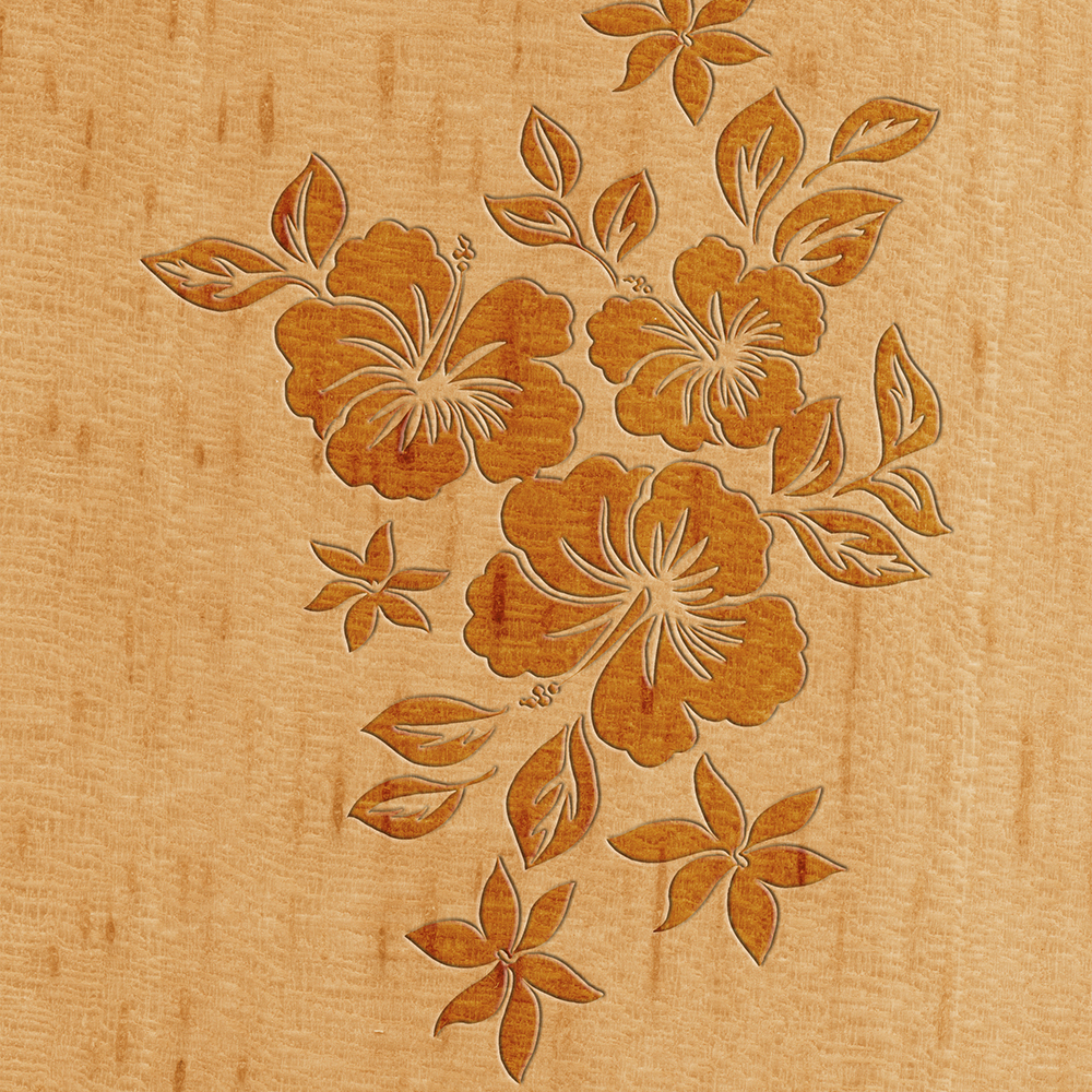 Lilikoi Hibiscus Faux Wood Hawaiian Surfboard - Maple