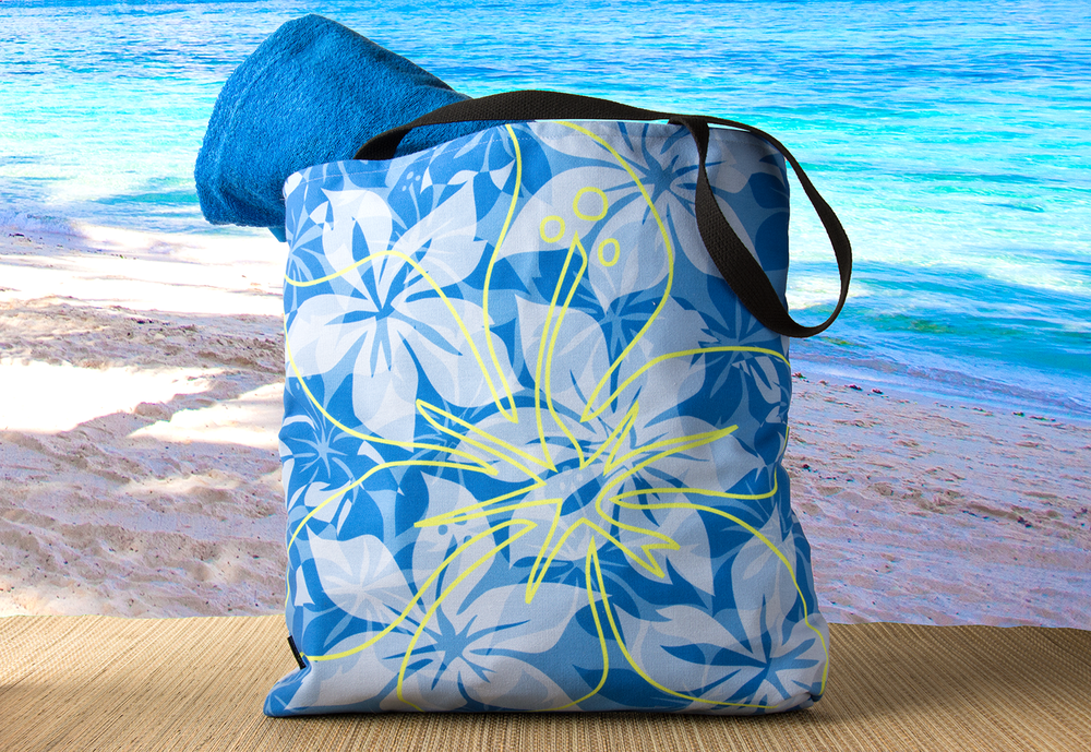 One of our Hawaiian print beach bags, made by Red Bubble.