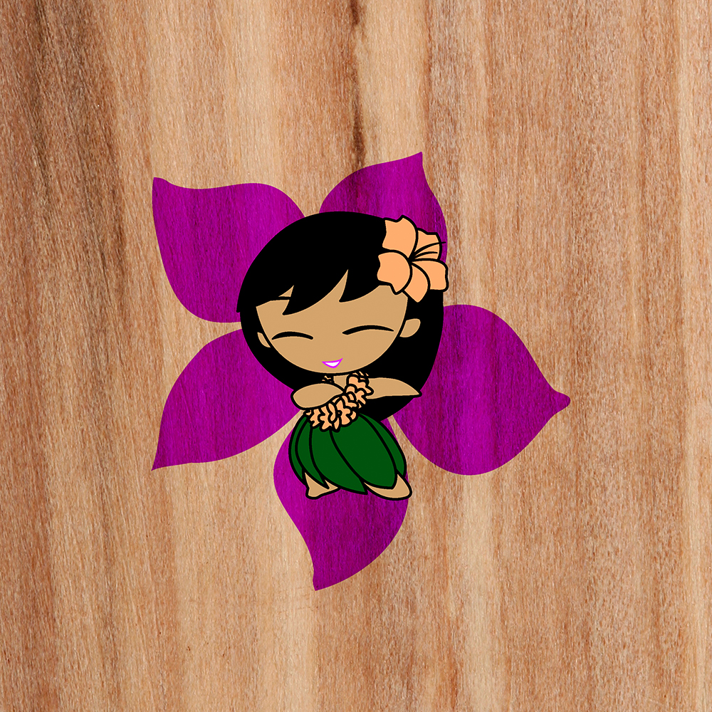 Aloha Honeys Hawaiian Hula Girl - Faux Wood and Violet