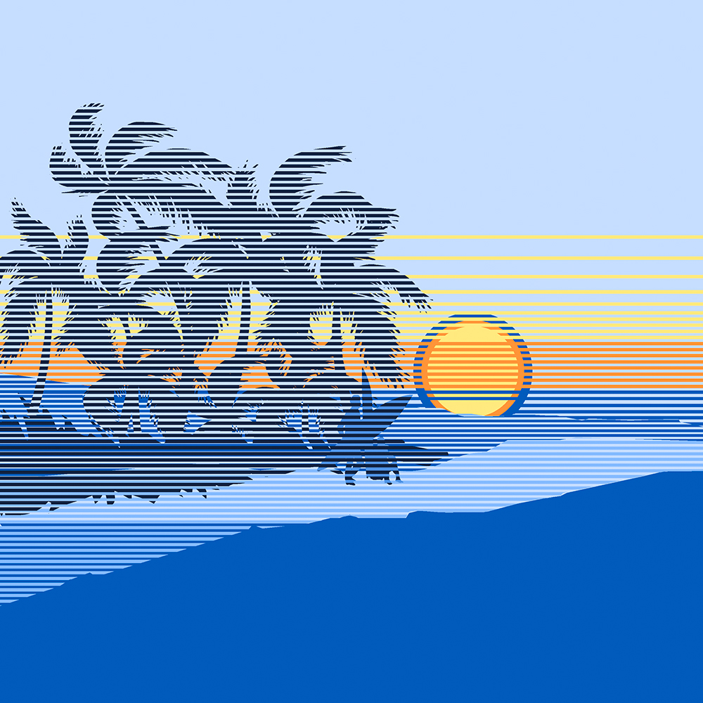 Big Sunset Stripe Hawaiian Print - Ocean Blue