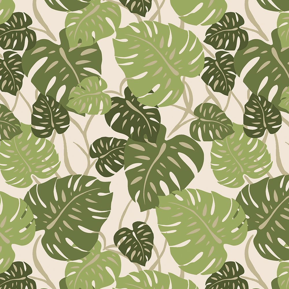 Cliff Hanger Monstera Leaf Hawaiian Print - Sage and Olive Green