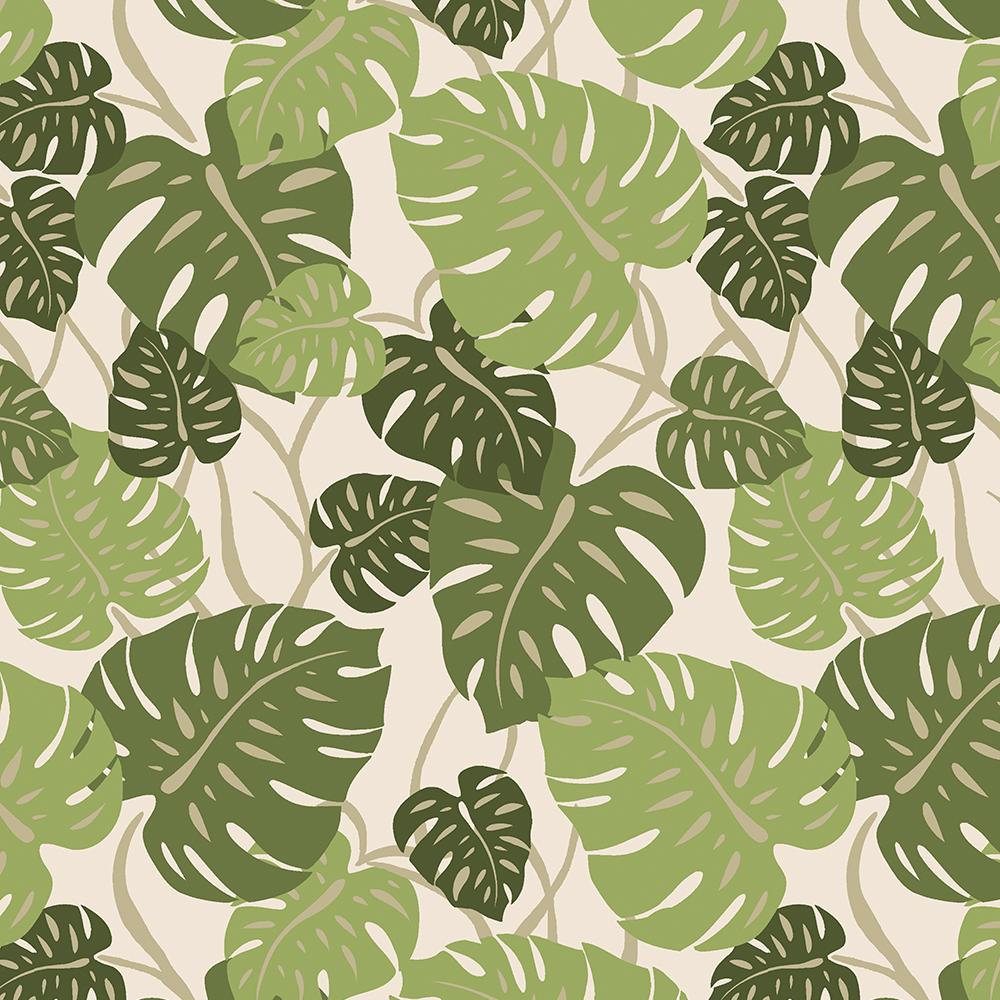 Cliff Hanger Monstera Leaf Hawaiian Print - Sage and Olive Green