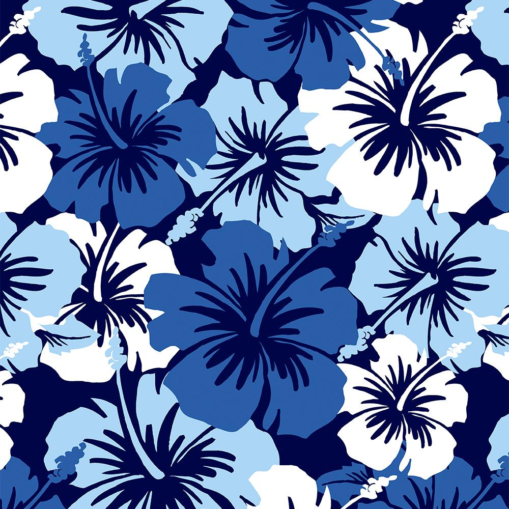 Epic Hibiscus Hawaiian Floral Aloha Shirt Print- Blue