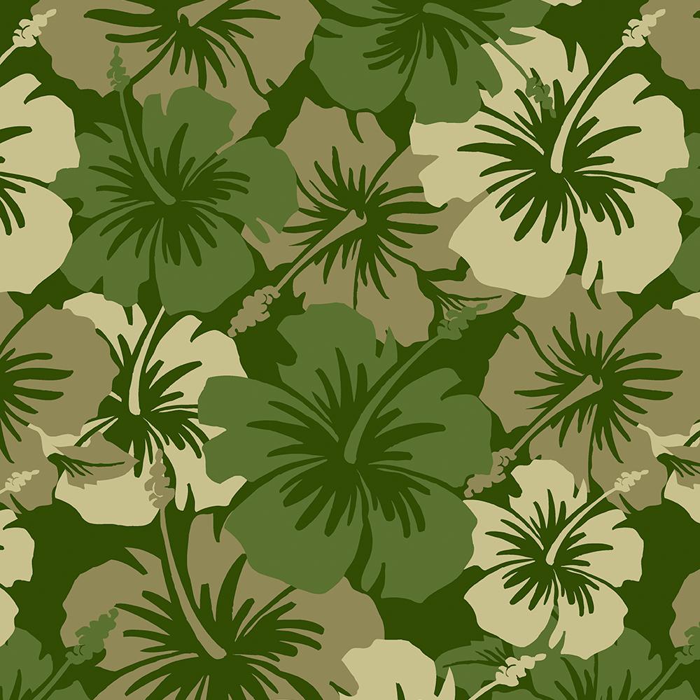 Epic Hibiscus Hawaiian Floral Aloha Shirt Print- Olive Green