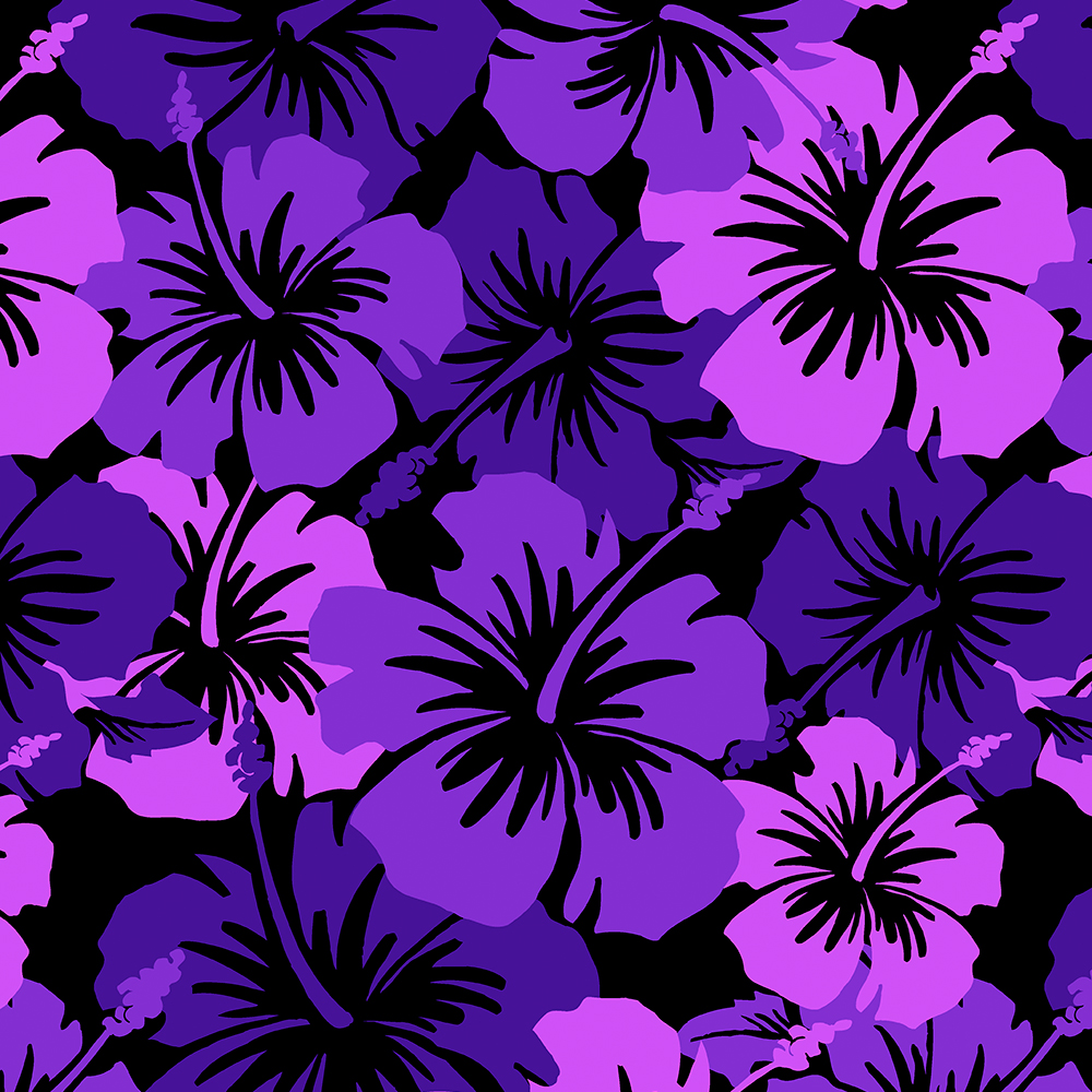Epic Hibiscus Hawaiian Floral Aloha Shirt Print- Purple