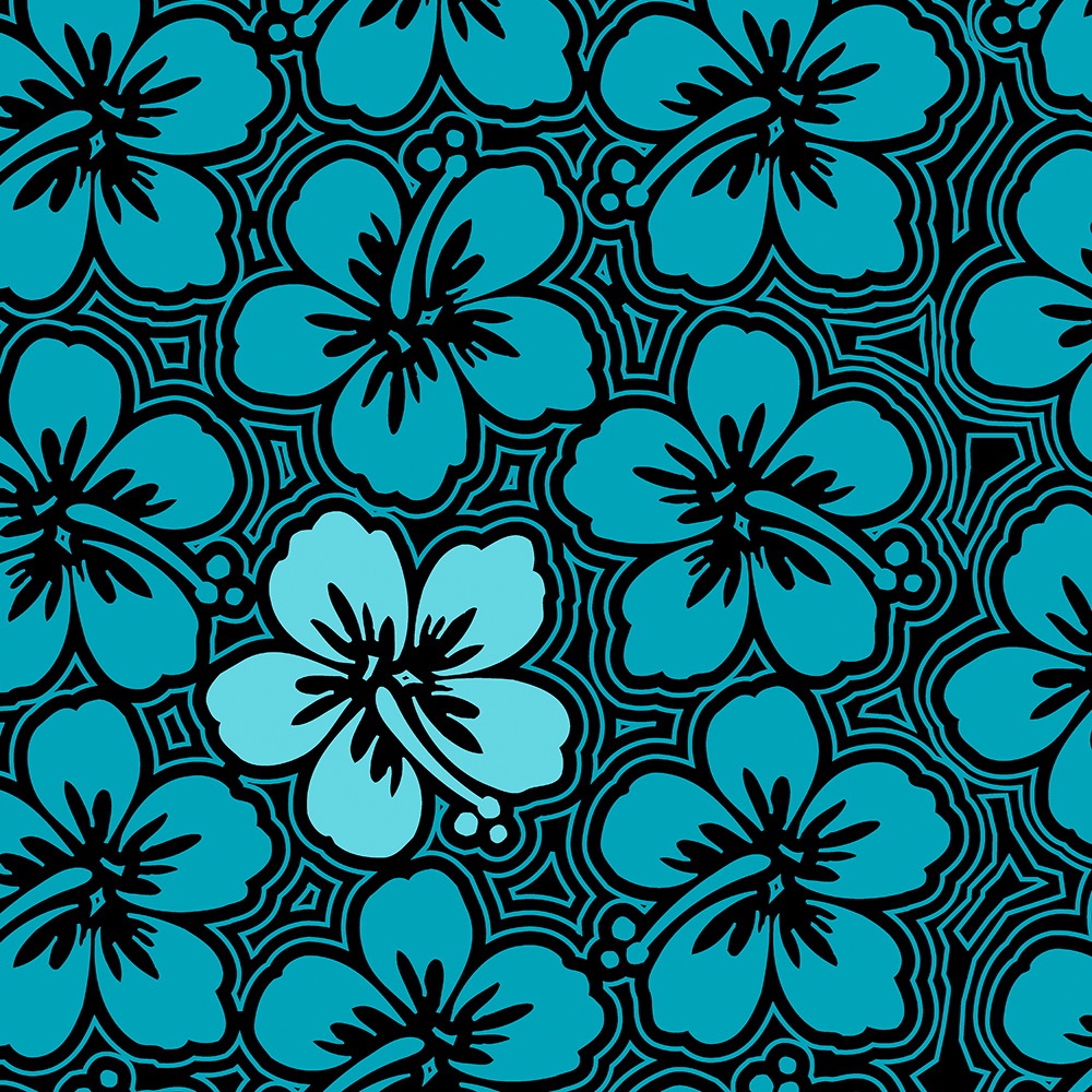 Island Hibiscus Hawaiian Floral in Teal and Black