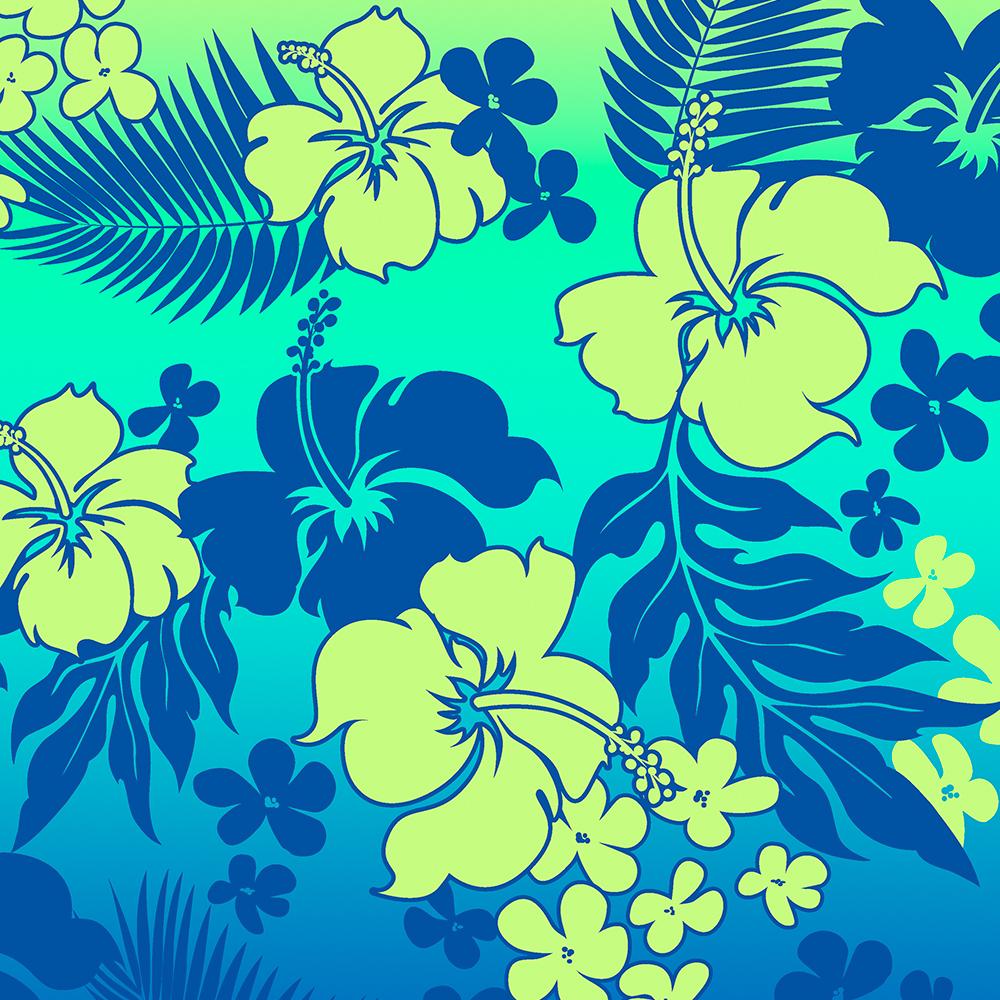 Kona Blend Hawaiian Hibiscus Aloha Shirt Print- Turquoise