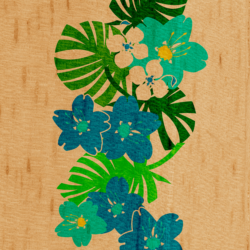 Limahuli Garden Faux Wood Hawaiian Surfboard - Teal and Lime