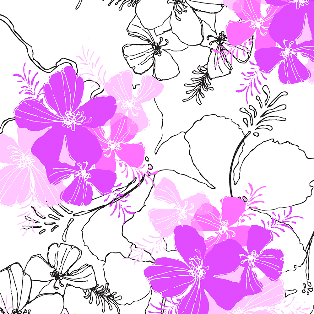 Midnight Garden Hawaiian Hibiscus Print - Violet on White