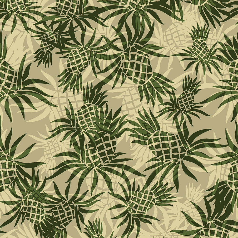 Pineapple Camo Hawaiian Aloha Shirt Print- Khaki and Olive